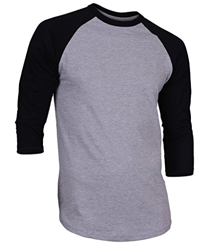 Dream USA Men's Casual 3/4 Sleeve Baseball Tshirt Raglan Jersey Shirt H Gray/Black Medium