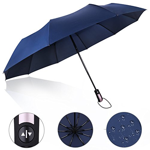 PROKING Umbrella Windproof Umbrella(60 MPH) Travel Umbrella Compact Automatic Open and Close Umbrella Unbreakable 10 Ribs Golf Umbrellas One Handed Operation with Lightweight Umbrella(Navy Blue)
