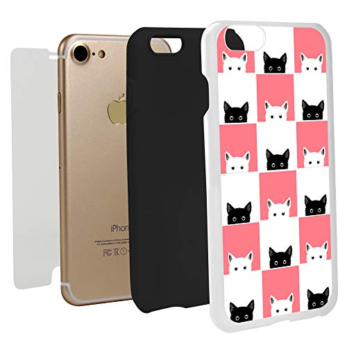 White Checkers Protector Case - Guard Dog Checkerboard Kitties Hybrid Phone Case for iPhone 7/8 with Guard Glass Screen Protector, White with Black Silicone