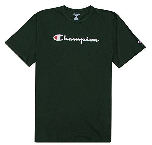 Champion Mens Big and Tall Printed Script Logo Tee Dark Green -