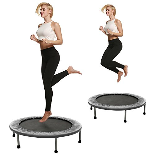 38 Inch Folding Fitness Mini Trampoline Round Rebounder with Safety Pad [US Stock]