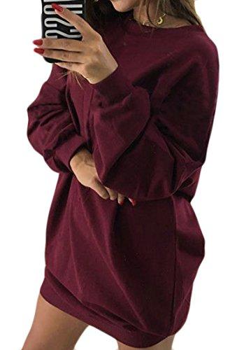 Cruiize Femmes Crewneck Hiver Sweat-shirt À Manches Robe Solide Vin Rouge