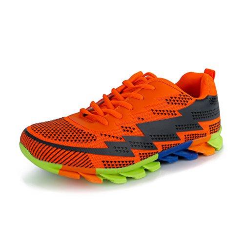 Hawkwell Men's Athletic Flex Comfort Lightweight Running Shoes,Orange Mesh,11 M US
