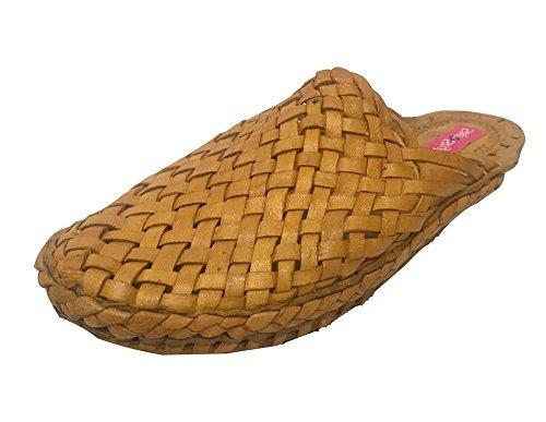 n Piel Claro marrón de para Style casa por marrón Hombre Step Estar Zapatillas de qw48T4OBd