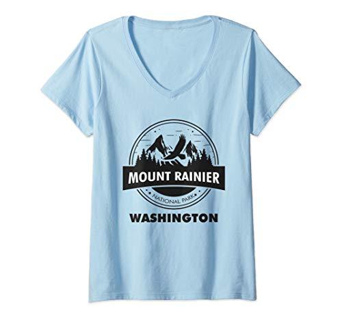 Womens Mount Rainier National Park WA Camping Hiking Lover V-Neck T-Shirt