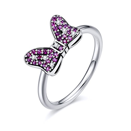 Twenty Plus Disney Minnie's Sparkling Bow Ring with Pink & Clear CZ Gifts for Girls & Women -