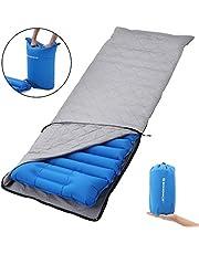 SONGMICS Ultra-leichte Luftmatratze, 195 x 65 x 9 cm, aufblasbare Isomatte mit integriertem Kissen und Stoffbezug, Luftsack zum Aufpumpen, Mobile Schlafunterlage, Reisen, Camping, Hängematte, Wandern