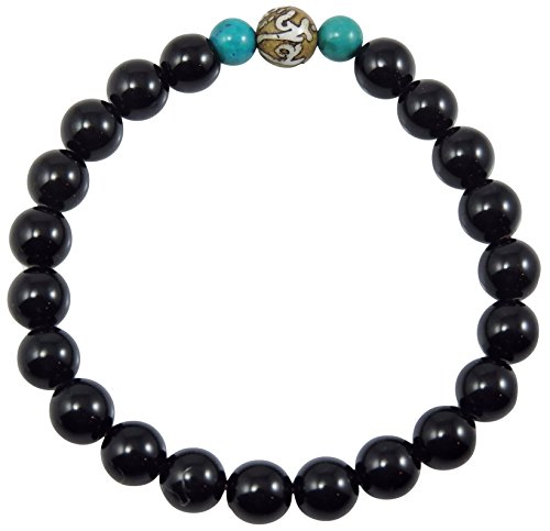 black Onyx healing bracelet for meditation gemstone wrist mala cg-6 (Onyx , conch shell 2 (Turquoise Conch Shell)