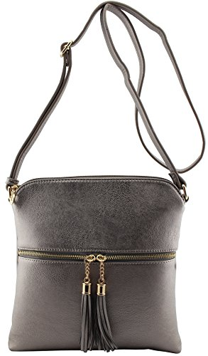 Amy crossbody strap Pewter size with medium and tassels shoulder amp;Joey adjustable bag rvwqtUxfPr