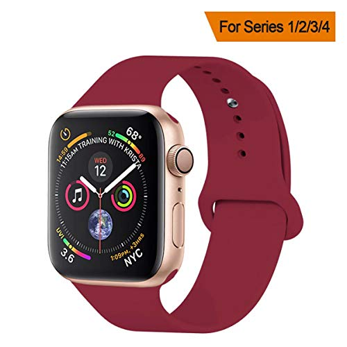 Rose 261 - YANCH Compatible with for Apple Watch Band 42mm 44mm, Soft Silicone Sport Band Replacement Wrist Strap Compatible with for iWatch Nike+,Sport,Edition,M/L,Rose Red