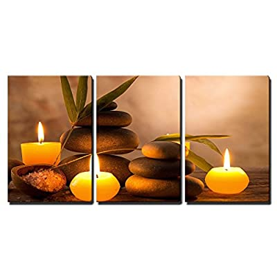 3 Piece Canvas Wall Art - Spa Still Life with Aromatic Candles and Zen Stones - Modern Home Art Stretched and Framed Ready to Hang - 24