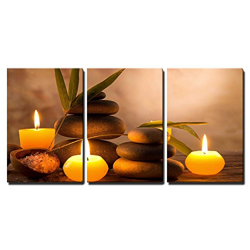 (wall26 3 Piece Canvas Wall Art - Spa Still Life with Aromatic Candles and Zen Stones - Modern Home Decor Stretched and Framed Ready to Hang - 24