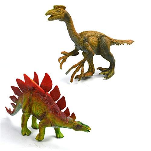 ADiPROD Realistic Looking 7 Dinosaurs Pack of 2 Plastic Dinosaur Figures Oviraptor Stegosaurus