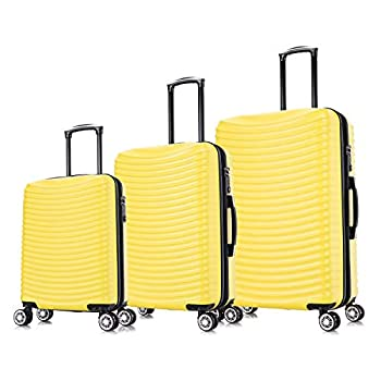 Image of Luggage AMZTrunk Luggage Expandable Suitcase ABS 3 Piece Set with TSA Lock Spinner 20in24in28in (Yellow, 3 Piece Set)