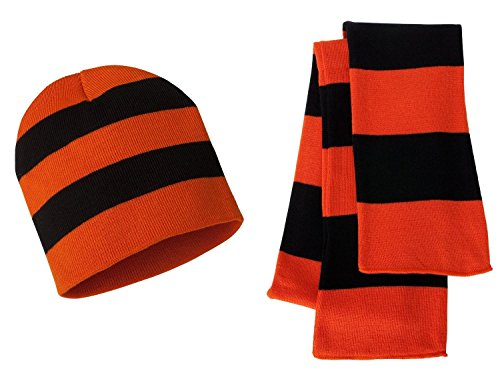 (Sportsman Knit Collegiate Rugby Stripe Winter Scarf & Beanie Hat Set - Assorted Colors, Orange/Black)
