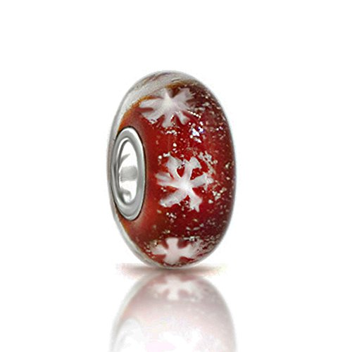 Let It Snow! Christmas White Snowflake Red Murano Glass Bead 925 Sterling Silver Core Bead Fits Pandora Charm (Glass Snowflake Beads)