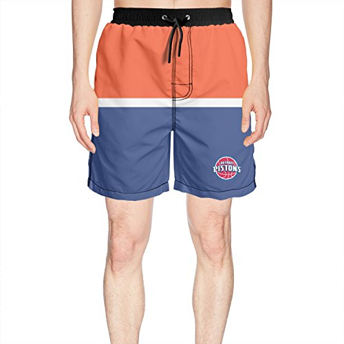 Ruskin Toby Men's Detroit-Pistons-Primary-Logo Beach Shorts Quick Dry Summer Trunks Short Marco Comforter Set