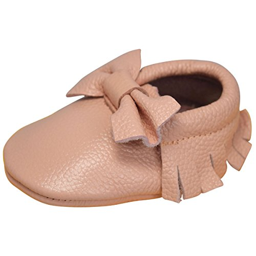Unique Baby Leather Bow Moccasins Anti-Slip Tassels Prewalker Toddler Shoes (XXS (4.3 inches), Peach)