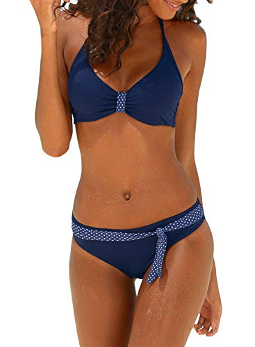 (Itsmode Sexy Padded Push Up Polka Dot Halter Bikini Top with Swim Briefs Swimsuit for Women Tie Side Two Pieces Bathing Suit Summer Medium Blue)