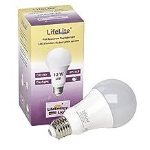 LifeLite Full Spectrum Daylight 12W LED light bulb, replacement for 75W light bulb