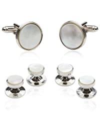 Cuff-Daddy Mother of Pearl Cufflinks and Studs Formal Set