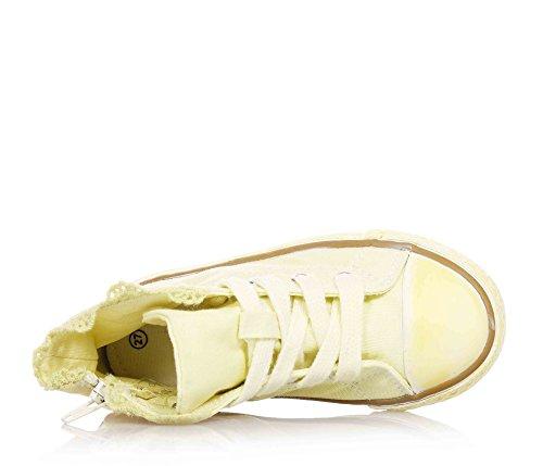 TWIN-SET - Baskets jaunes à lacets, en tissu, glissière latérale, logo à l'arrière, fille, filles, enfant