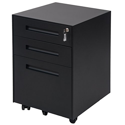 ModernLuxe Mobile Metal File Cabinet with 3 Lockable Drawers and 2 Locking Castors (Single Drawer File Cabinet)