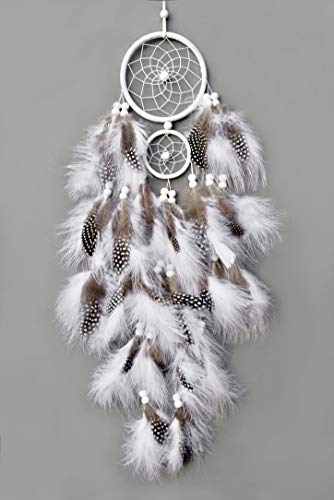 (TooglBox Handmade Native American Indian Dream Catcher [White] with Real Feathers & Wood Beads,for Kids, Bedroom, Wall Hanging Decor Craft, Two Circles 4.3