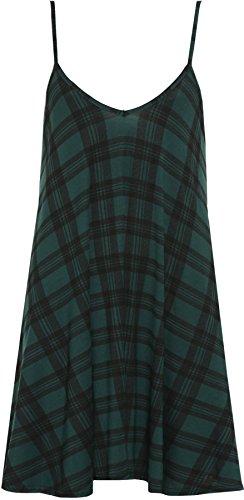 robe Vert mini Tartan imprim Robes WearAll dbardeur Femmes top taille Tailles 54 Grande 44 nAxwwO7I