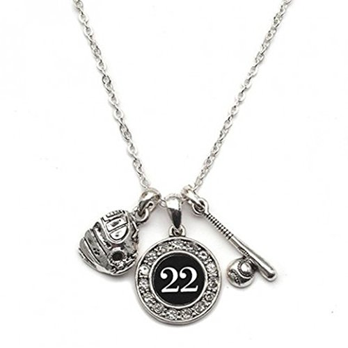 MadSportsStuff Custom Player ID Softball Necklace (#22, One Size)