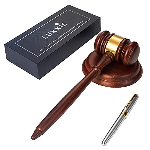 Lujoso Kit de Martillo y Pluma para Rematador Juez Abogado
