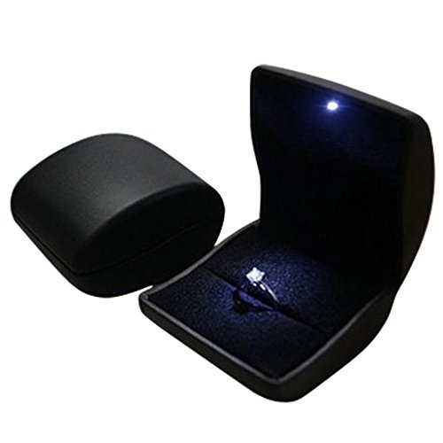 Lily Treacy PU Leather Earrings,Coin,Jewelry,ring Box,Case, with LED Lighted up for Proposal,Engagement,Wedding,Gift (Black) (Gift Leather Box Display)