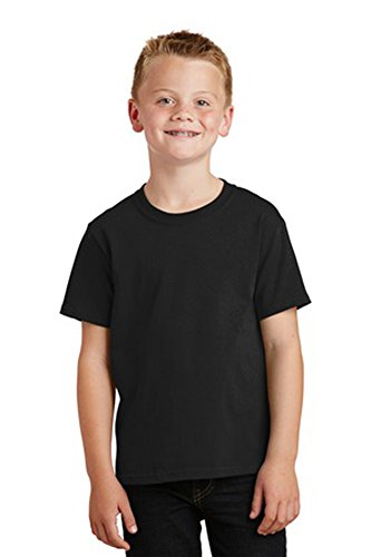 Port & Company Youth Core Solid Short Sleeve Cotton Tee, M, Jet Black (10 T-shirt Black)