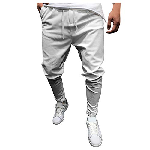 Casual Lounge Pants for Men, Huazi2 Pockets Drawstring Comfortable Trousers White
