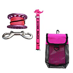 Description:               - Full diving set: Includes three items- 1x scuba diving surface marker buoy (SMB) + 1x aluminum alloy finger spool + 1x mesh bag - Finger spool reel: Size of 30m/98ft high visibility line and attach...