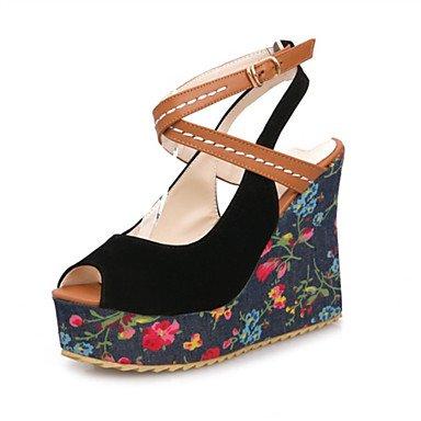 LvYuan Mujer-Tacón Cuña-Otro Zapatos del club Confort Innovador-Sandalias-Boda Fiesta y Noche Vestido-Materiales Personalizados Semicuero-Negro Blue