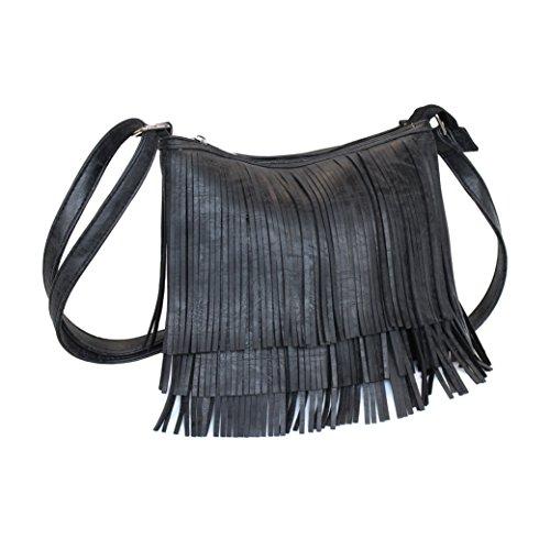 Black Faux Suede Boho Fringe Zipper Top Crossbody Bag W/ Concealed Carry Pocket - Suede Utility Bag