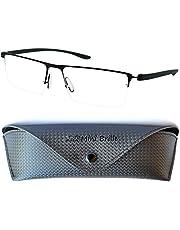 Gafas de Lectura con Cristales Rectangulares, Media Montura de Acero Inoxidable (Negra), Funda GRATIS, Gafas Para Leer Hombre y Mujer +1.5 Dioptrías