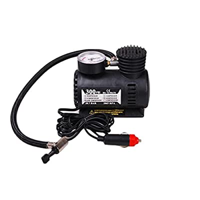 Sunbona Portable Car Electric Air Pump Inflator Deflator,DC 100-240 Volt 12V Mini Compact Compressor Pump For Car,Bike Tyre, Air Bed Boat Raft Mattress ,Inflatable boats,Water Toys