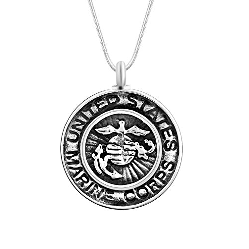 Cremation Urn Jewelry MARINE CORPS Shield Keepsake Urn Necklace Memorial Remains Pendant for Ashes