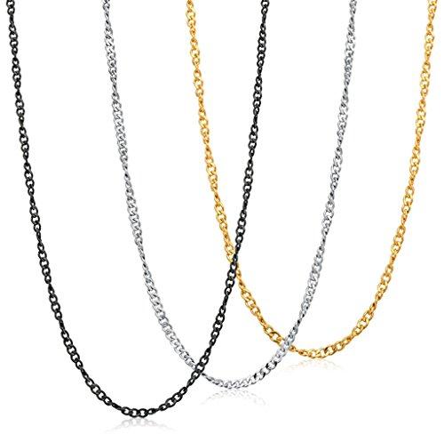 Jstyle Edelstahl 3er Halskette Armkette Set Panzerkette Schlangekette Venezianerkette für Anhänger