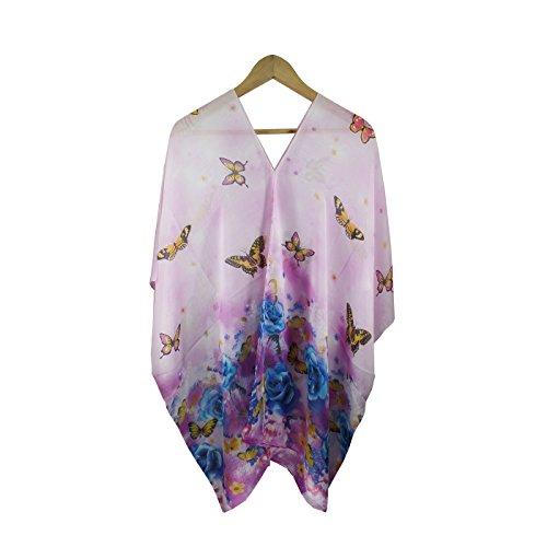 Fanssie Women`s Fashion Swimwear Beachwear Bikini Cover ups Beach Dress Tops (Pink Butterfly ()