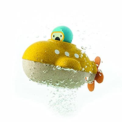 PlanToys Yellow Submarine Bath and Water Play Toy Set (5669) | Sustainably Made from Rubberwood and Non-Toxic Paints and Dyes | Eco-Friendly PlanWood: Toys & Games