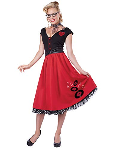 Rock N Roll 50 S (California Costumes Women's Rock N Roll Sweetheart 50's Pin Up Costume, Red/Black,)