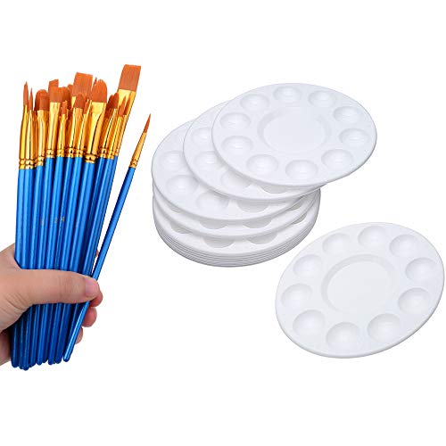 (50 Pcs Paint Brushes with 12 Pcs Paint Pallet Trays for Kids and Adults to Create Art)