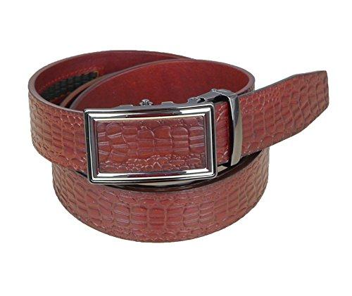 Brown Crocodile Belt (FASHINTY Men's 33MM Wide Crocodile Skine Embossed No Hole Genuine Leather Belt #668 Reddish Brown)