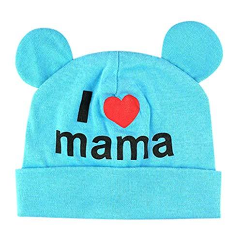 BCDshop Cute Infant Baby Girls Boys Heart Letter Sleep Cap Headwear Hat 2-10 Months (Blue)