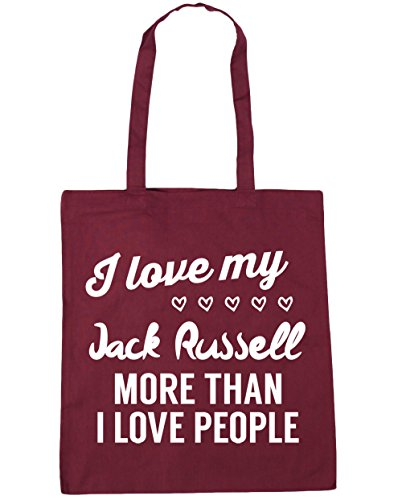 HippoWarehouse I Love My Jack Russel–más de I Love People Tote Compras Bolsa de playa 42cm x38cm, 10litros granate