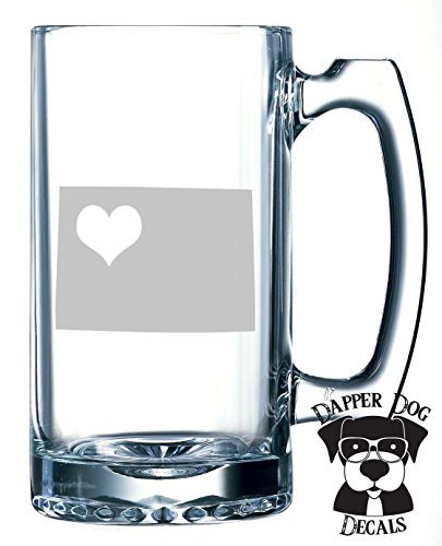 Wyoming Pride I Heart My State Art Personalized Custom Hand Etched Mug 25 oz Beer Stein Glass Cup Great Gift -