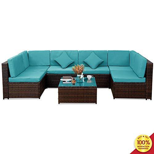 MIERES Patio PE Rattan Sectional Garden Furniture Corner Sofa Set (7 Pieces, Blue), Light